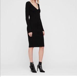 H & M Black Bodycon Long Sleeve Midi V Neck Dress